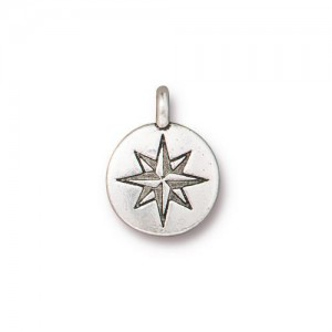 Mini North Star Charm Antiqued Silver Plate - Pkg of 20 TierraCast®