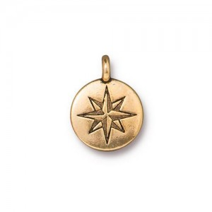 Mini North Star Charm Antiqued Gold Plate - Pkg of 20 TierraCast®