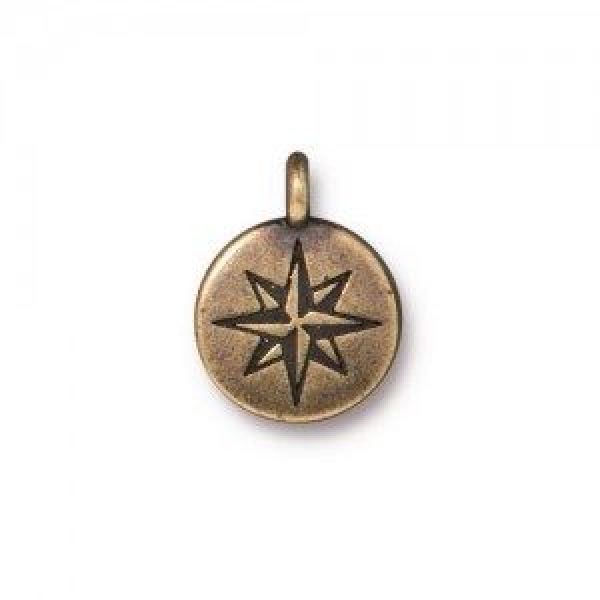 Mini North Star Charm Oxidized Brass Plate - Pkg of 20 TierraCast®