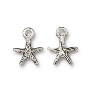 Tiny Sea Star Charm Antiqued Silver Plate - Pkg of 20 TierraCast®