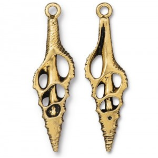 Cut Spindle Pendant Antiqued Gold Plate - Pkg of 6 TierraCast®