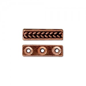 Braided 3 Hole Bar Antiqued Copper Plate - Pkg of 20 TierraCast®