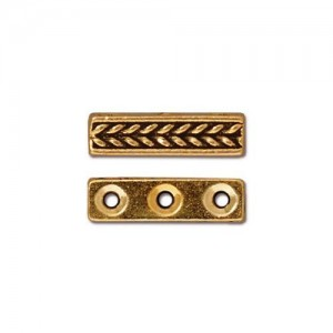 Braided 3 Hole Bar Antiqued Gold Plate - Pkg of 20 TierraCast®