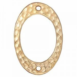 Link Hammertone Drilled Oval Bright Gold - Pkg of 20 TierraCast® Britannia Pewter
