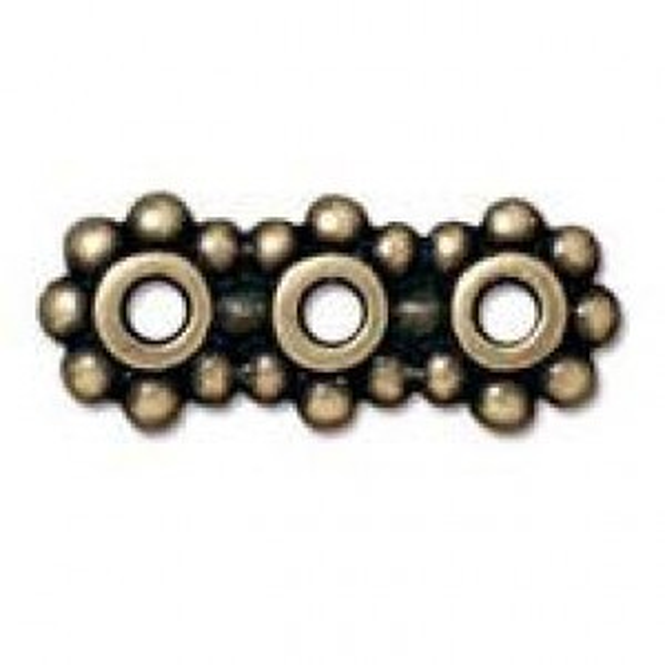 Link 3 Hole 6mm Heishi Bar Brass Oxide - Pkg of 20 TierraCast® Britannia Pewter