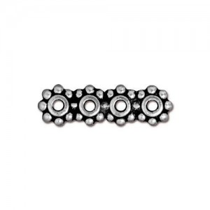Beaded 6mm Spacer Bar 4 Hole Antiqued Silver Plate - Pkg of 20 TierraCast®