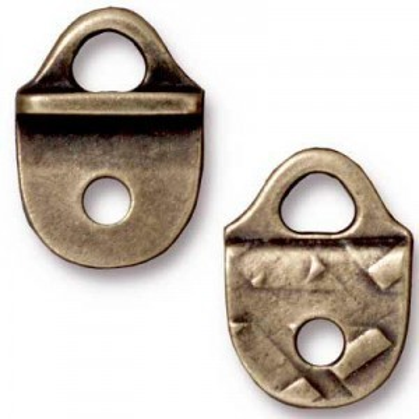 Link 15.9x11.4mm Hole 2.5mm Loop 3.5mm R&R Strap Tip Brass Oxide - Pkg of 20 TierraCast® Britannia Pewter