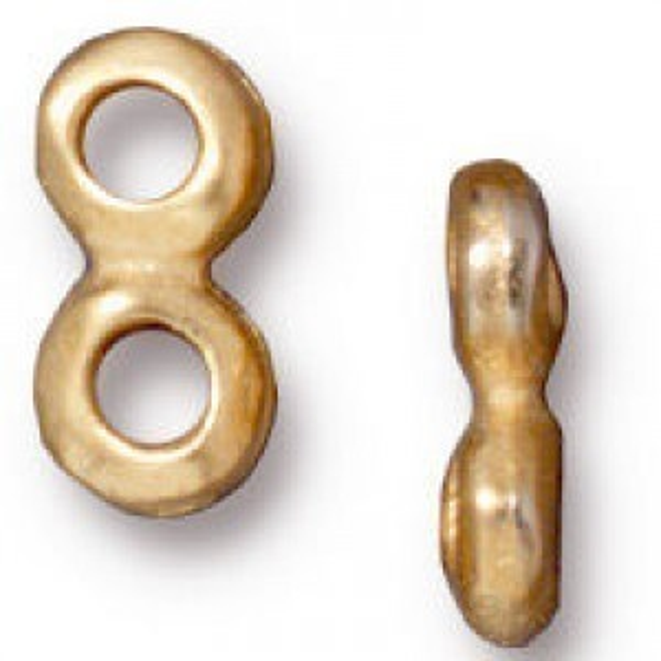 Link 5mm Nugget 2 Hole Bar Bright Gold - Pkg of 20 TierraCast® Britannia Pewter