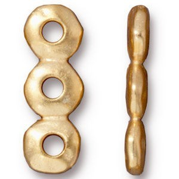 Link 7mm Nugget 3 Hole Bar Bright Gold - Pkg of 20 TierraCast® Britannia Pewter
