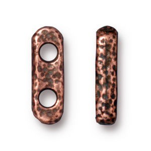 Link 12.5x4.2mm Hole 2.25mm Distressed 2 Hole Bar Antique Copper - Pkg of 20 TierraCast® Britannia Pewter