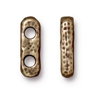Link 12.5x4.2mm Hole 2.25mm Distressed 2 Hole Bar Brass Oxide - Pkg of 20 TierraCast® Britannia Pewter