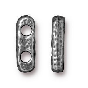 Link 12.5x4.2mm Hole 2.25mm Distressed 2 Hole Bar Antique Pewter - Pkg of 20 TierraCast® Britannia Pewter