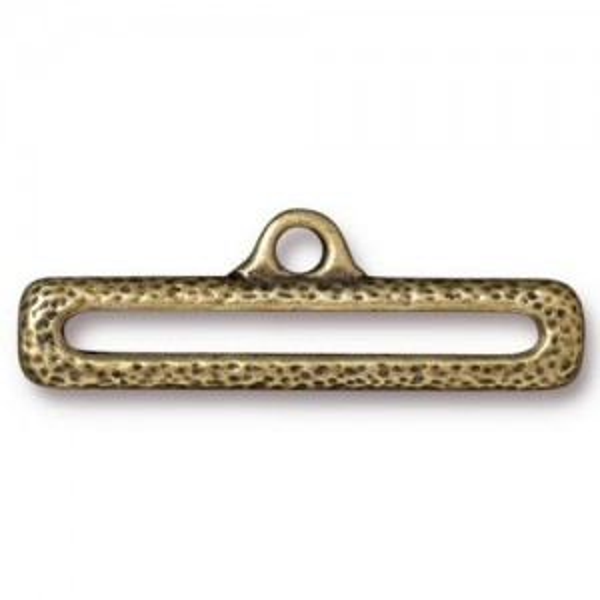 Link 1 Inch Distressed End Bar Brass Oxide - Pkg of 20 TierraCast® Britannia Pewter