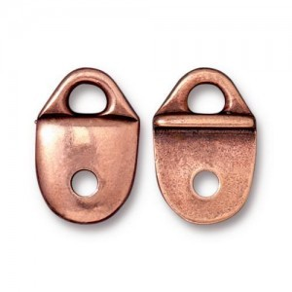 Link Plain Strap Tip Antique Copper - Pkg of 20 TierraCast® Britannia Pewter