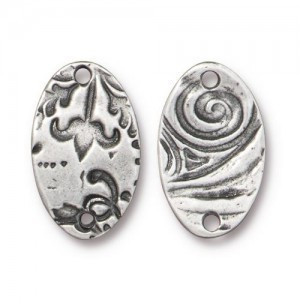 Link Flora Oval Connector 12x19mm Antique Pewter - Pkg of 20 TierraCast® Britannia Pewter