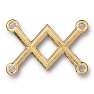 Link Criss Cross 19x28mm Gold Plate - Pkg of 20 TierraCast® Britannia Pewter