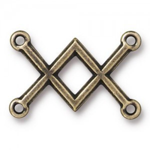 Link Criss Cross 19x28mm Brass Oxide - Pkg of 20 TierraCast® Britannia Pewter