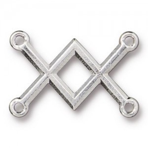 Link Criss Cross 19x28mm Rhodium Finish - Pkg of 20 TierraCast® Britannia Pewter