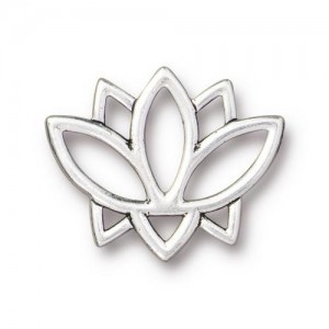 Link Open Lotus 19x23mm Antique Silver - Pkg of 20 TierraCast® Britannia Pewter