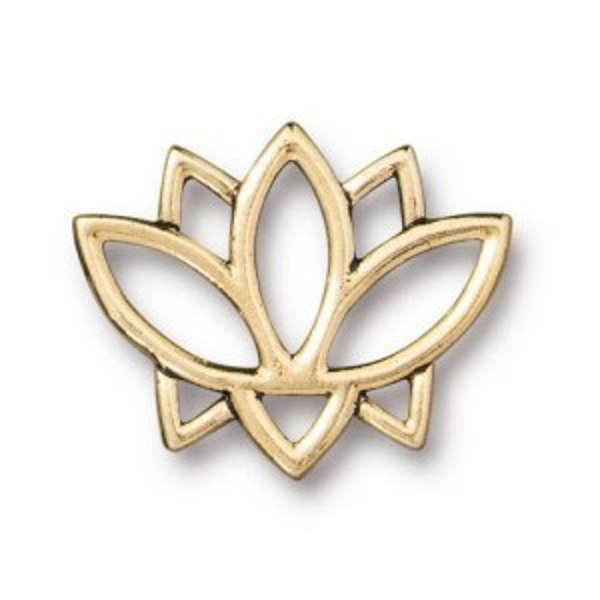 Link Open Lotus 19x23mm Antique Gold - Pkg of 20 TierraCast® Britannia Pewter