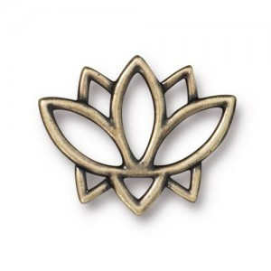 Link Open Lotus 19x23mm Brass Oxide - Pkg of 20 TierraCast® Britannia Pewter