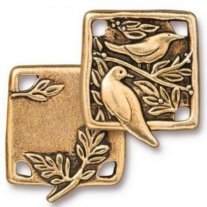 Link Botanical Birds 21x19mm Antique Gold - Pkg of 10 TierraCast® Britannia Pewter