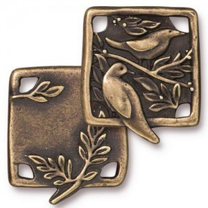 Link Botanical Birds 21x19mm Brass Oxide - Pkg of 10 TierraCast® Britannia Pewter