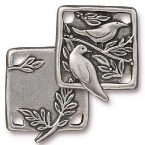 Link Botanical Birds 21x19mm Antique Pewter - Pkg of 10 TierraCast® Britannia Pewter
