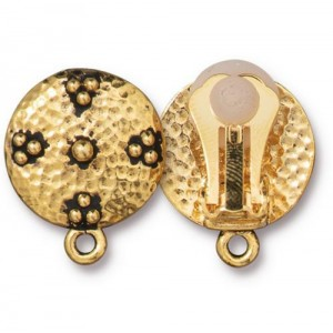 Opulence Clip-on Earring Antiqued Gold Plate - Pkg of 6 TierraCast®