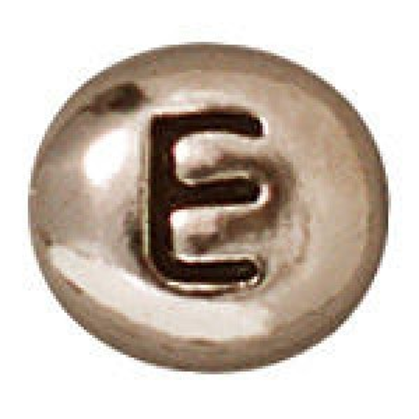 Bead Letter E Antique Rhodium - Pkg of 20 TierraCast® Britannia Pewter