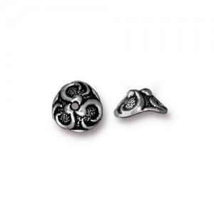 Lily 8mm Bead Cap Antiqued Silver Plate - Pkg of 20 TierraCast®