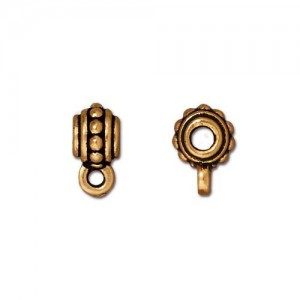 Beaded Bail Antiqued Gold Plate - Pkg of 20 TierraCast®