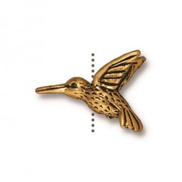 Hummingbird Bead Antiqued Gold Plate - Pkg of 20 TierraCast®