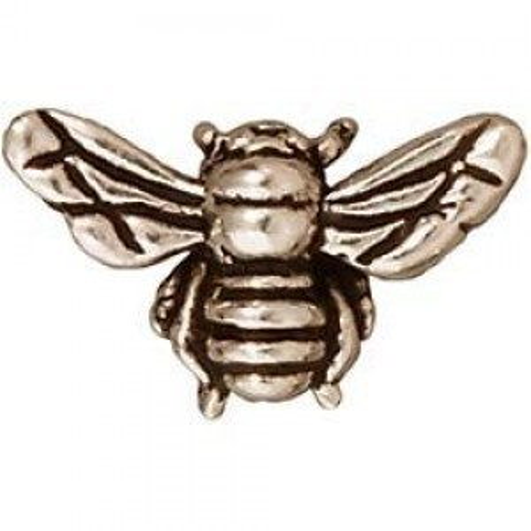 Bead Honey Bee Antique Fine Silver - Pkg of 20 TierraCast® Britannia Pewter