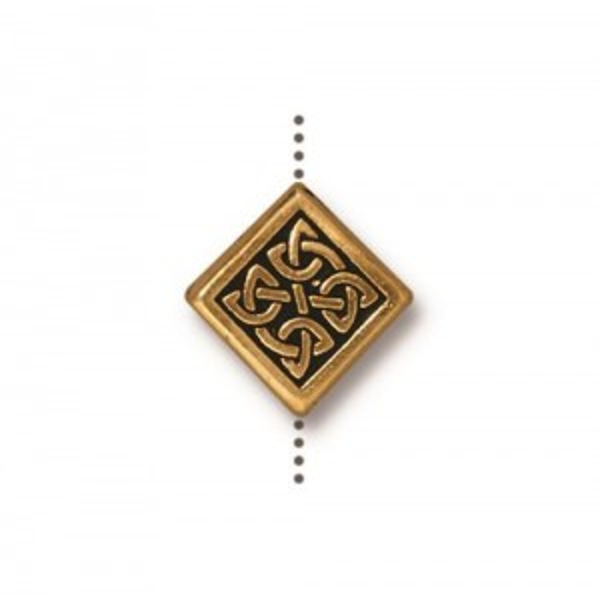 Medium Celtic Diamond Bead Antiqued Gold Plate - Pkg of 20 TierraCast®