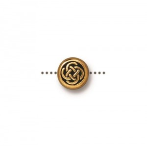 Small Celtic Circle Bead Antiqued Gold Plate - Pkg of 20 TierraCast®