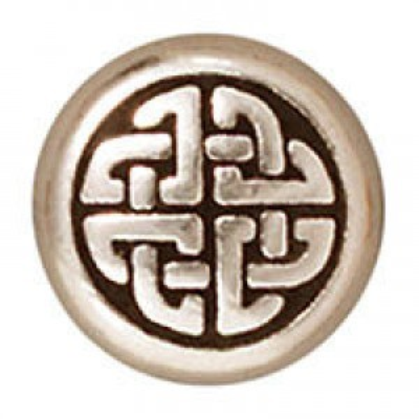 Bead Med Celtic Circle Antique Fine Silver - Pkg of 20 TierraCast® Britannia Pewter
