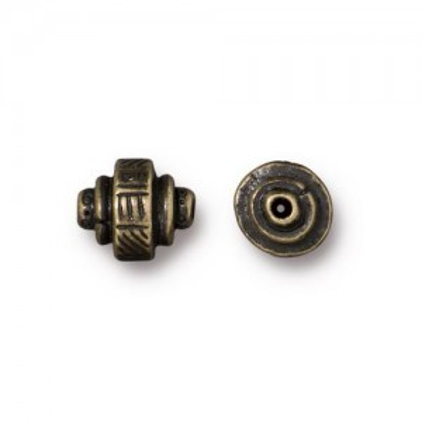 Bead Ethnic Barrel 9x7mm Brass Oxide - Pkg of 20 TierraCast® Britannia Pewter