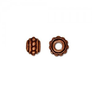 Beaded 7mm Large Hole Bead Antiqued Copper Plate - Pkg of 20 TierraCast®