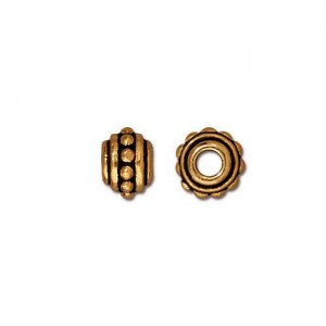 Beaded 7mm Large Hole Bead Antiqued Gold Plate - Pkg of 20 TierraCast®