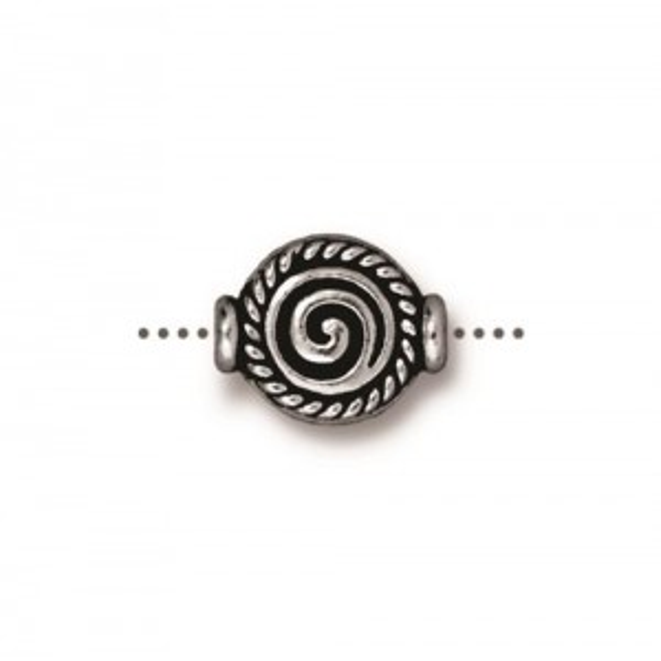 Fancy Spiral Bead Antiqued Silver Plate - Pkg of 20 TierraCast®