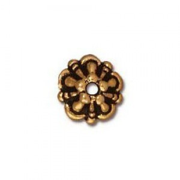 5mm Tiffany Cap 1mm Hole Antique Gold - Pkg of 100 TierraCast® Britannia Pewter