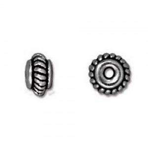 5mm Coiled Spacer 1mm Hole Antique Silver - Pkg of 100 TierraCast® Britannia Pewter