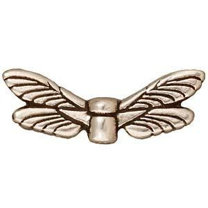 Bead Dragonfly Wings Antique Fine Silver - Pkg of 20 TierraCast® Britannia Pewter