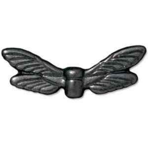 Bead Dragonfly Wings Black Finish - Pkg of 20 TierraCast® Britannia Pewter