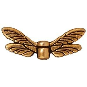 Bead Dragonfly Wings Antique Gold - Pkg of 20 TierraCast® Britannia Pewter