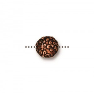 Floral Round Bead Antiqued Copper Plate - Pkg of 20 TierraCast®
