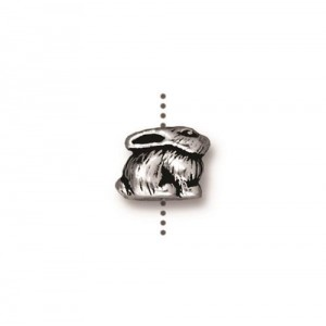 Bunny Bead Antiqued Silver Plate - Pkg of 20 TierraCast®
