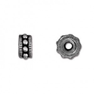 Rococo 6mm Round Bead Antiqued Silver Plate - Pkg of 50 TierraCast®