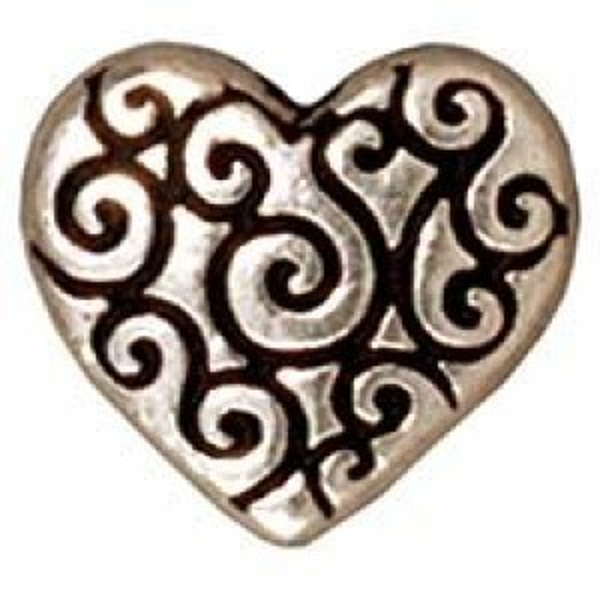 Bead Heart Scroll Antique Fine Silver - Pkg of 20 TierraCast® Britannia Pewter